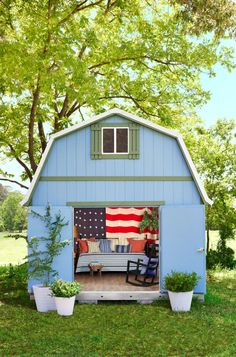 The latest in get-away-from-it-all spaces is the she-shed, a backyard retreat that's tailor-made for whiling away the weekend. And better yet, it's above ground. Here's how we twirled one up for summer!