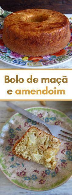 Bolo de maçã e amendoim | Food From Portugal. Este delicioso bolo tem uma combinação de sabores bastante interessante! A mistura doce da maçã com o amendoim dá ao bolo um toque diferente mas ao mesmo tempo muito agradável! Experimente!! #receita #bolo #maçã #amendoim