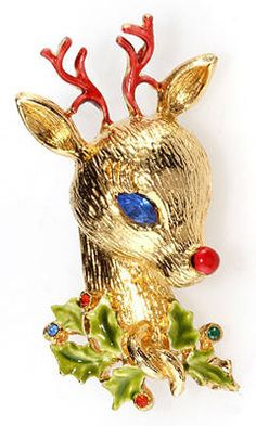 Rhinestone and enamel reindeer brooch with red nose