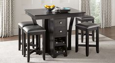 Ellwood Black 5 Pc Bar Height Dining Set Set includes Dining Table & Find affordable Dining Room Sets for your home that will complement the rest of your furniture. Bar Height Dining Table, Bar Table Sets, Dining Room Table, Table And Chairs, Bar Tables, Dining Chairs, Dining Rooms, Kitchen Tables, Kitchen Dining