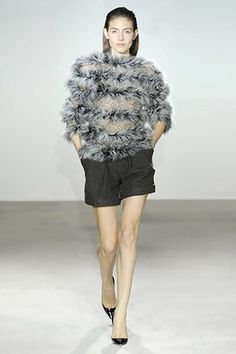 4c7ce4ae3da6 French Lace & Feathers Top with Leather Filigree Wool & Sequins Wide Short  - Collette Dinnigan