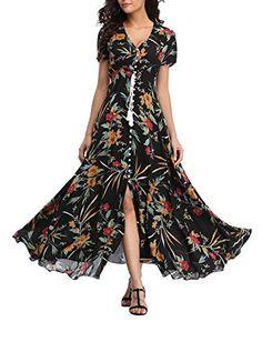 4506874e396 VOGMATE Femme Robe Chic Longue Col V à Fleur Manches Courtes en Coton Robe  Maxi de Plage D été Casual (S-2XL)