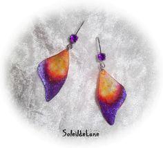 Boucles d'oreilles Ailes de Papillon violet orange satin Strass ♥ Mariage fête soirée : Boucles d'oreille par soleildelune-bijoux-mariage