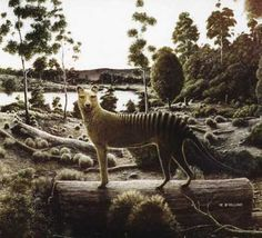 Painting of thylacine in landscape by artist Michael McWilliams (detail).