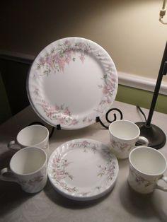 Corelle Wisteria Dinnerware Set Vintage by AmeliesFarmhouse $25.00 & Corelle Forever Yours 20 Pc Set Dinnerware Set Plates Bowls Mugs ...