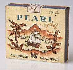 Viktor Weixler (1883–1977): 20er-Packung Pearl, 1928. Karton, 7,2 × 8,1 cm; JTI Collection Vienna Vienna, Pearls, Collection, Visual Identity, Card Stock, Culture, Art, Beads, Beading