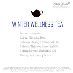 Great tea recipe for winter wellness! NingXia Red in anything is awesome. :) To learn more about getting oils, come visit: www.theoildropper.com/debchausky