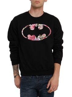 DC Comics Batman Floral Crewneck Sweatshirt c40ba0914fa