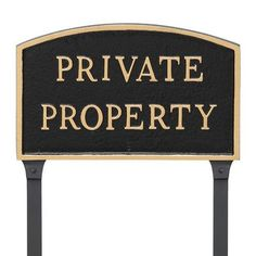 """Montague Metal Products Arch Private Property Statement Address Plaque Finish: Black/Gold, Size: 13"""" H x 21"""" W x 0.25"""" D"""
