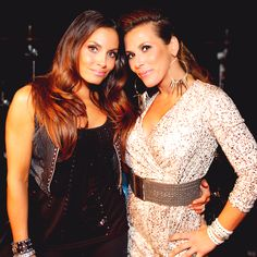 "Mickie James and Trish Stratus at Mickie's music video taping ""Somebody's gonna pay""."