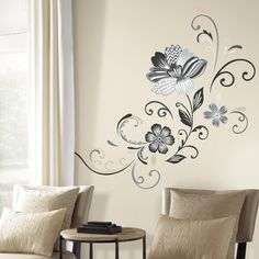 Room Mates 22 Piece Deco Flower Scroll Peel and Stick Giant Wall Decal Set