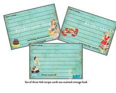 New++RETRO+sassy+RECIPE+cards+turquoise+by+RetroSassDesigns,+$2.29