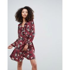 Liquorish Floral Wrap Dress ($51) ❤ liked on Polyvore featuring dresses, red, floral wrap dress, red floral dress, flower print dress, shift dresses and red dress