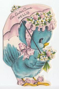 Vintage Blue Bird Easter Card - Gift Idea for Birds Easter Greeting Cards, Vintage Greeting Cards, Vintage Postcards, Easter Card, Easter Pictures, Easter Images Clip Art, Diy Ostern, Easter Printables, Vintage Valentines