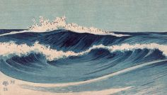 Hatō zu 3 by Uehara Konen completes a triptych of seascapes. In these waves we can see the emergence of a more modern, Western-influenced style with his deep blue, impressionistic lines.