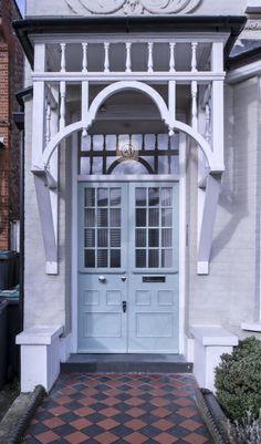 Edwardian front doors – Voysey & Jones A pair of Edwardian front doors in north London Entrance, Cool Doors, Doors, House Exterior, Porch And Balcony, Front Door Colors, Entrance Gates Design, Edwardian House, Front Door Design