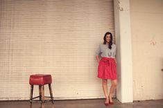 slouchy grey top + skirt.