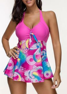 26f8f02ff5f Deep Plunge Printing Halter Backless Swimdresses For Women