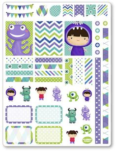Monster Friends Decorating Kit / Weekly Spread Planner Stickers for Erin Condren Planner, Filofax, Plum Paper