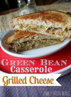 Got green bean casserole LEFTOVERS? This sandwich is a MUST!