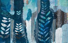 "Print of ""Weave Me into the Sea"" my Original Mixed Media Painting -- Blue,Turquoise, Green, Navy, Black, White"