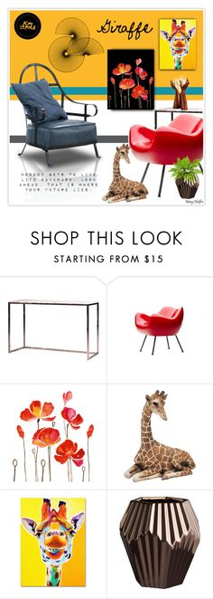 """Giraffe"" by mcheffer ❤ liked on Polyvore featuring interior, interiors, interior design, home, home decor, interior decorating, Mobital, Sandicast, Trademark Fine Art and CB2"