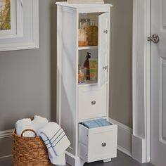 Weatherby White Bathroom Cabinet – its slim design and tall height make it a perfect storage piece for small bathrooms.
