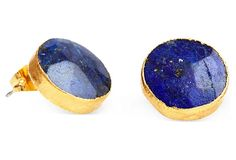 One Kings Lane - From Studs to Chandeliers - Lapis Charmaine Post Earrings