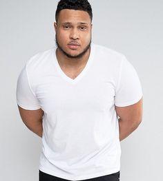 ASOS PLUS T-Shirt With V Neck In White - White