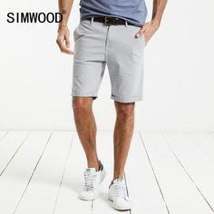 FuzWeb:SIMWOOD Summer New Casual Shorts Men Cotton Plaid Knee Length Trouser Slim Fit Clothing XD017001
