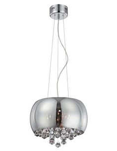 This eight-light fixture (EL-10064) from Lite Source's new collection of chandeliers has a smoke mirrored convex glass shade, crystal ornaments and a chrome finish. TM 4804. www.lite-source.com