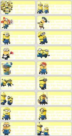 18 Minions Personalised name Label Sticker School book despicable me Childcare 2 in Crafts, Kids' Arts, Crafts, Stickers
