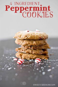 Easy and delicious peppermint cookie in just 4 ingredients? Yes please! Would be great for gifts or cookie swaps.