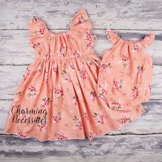 Apricot Floral Big Sister Flutter Sleeve Dress and Little Sister Flutter Sleeve Romper Set, Matching Coordinating Outfits - Charming Necessities Source by charmingshop outfits Toddler Girl Easter Outfit, Toddler Flower Girl Dresses, Toddler Girl Outfits, Baby Outfits, Kids Outfits, Matching Sister Outfits, Big Sister Little Sister, Outfit Sets, Girl Fashion