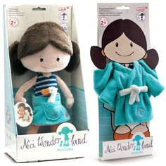 "Nici Wonderland MiniLotta 12"" Machine Washable Bath Tub Plush Doll with Bath Robe"