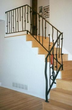 90 Interior Stairs Railing Designs - Home Stair Railing Kits, Interior Stair Railing, Modern Stair Railing, Stair Railing Design, Modern Stairs, Railings, Contemporary Stairs, Contemporary Decor, Cheap Rustic Decor