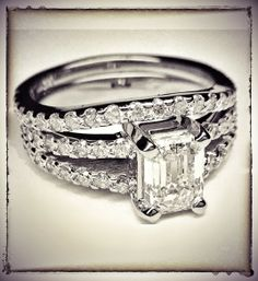 Emerald Cut Diamond Split Band Engagement Ring Beyonce's Choice & Matching Wedding Band