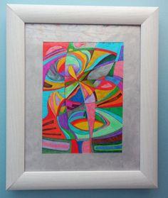 INK drawing.  Modern art colorful Size:16 cm x 22 cm por ArtEstrela