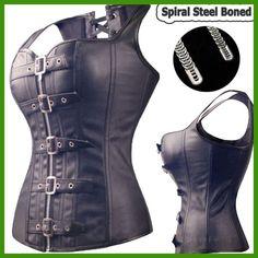 Black Spiral Steel Boned Steampunk Overbust Corset Bustier Top Dress SEXY  G-string Lingerie Women Corsets Plus Size S-6XL 070a42bca8e7