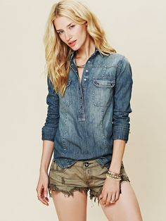 Free People Denim Pullover, $108.00