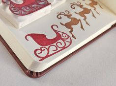 santa's christmas sleigh and reindeer, a two-piece set - hand carved stamps