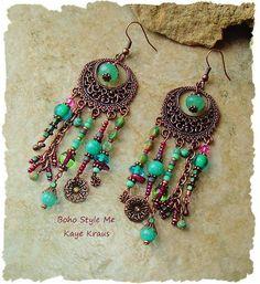 Rustic Boho Tribal Gypsy Earrings Bohemian Jewelry by BohoStyleMe: