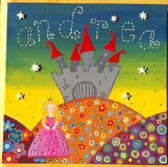Un castillo una princesa...y su nombre en las estrellas que se ilumina en la oscuridad. Https://www.facebook.com/cuadritos.decolores.7