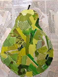 grade students finished their collages and they look AMAZING! We used magazines to create a simple picture.Text is just texture in this limited colour approach to collageDifferent fruits for a color and collage lesson/projectCollage by elementary sch Classe D'art, Paper Collage Art, Kids Collage, 6th Grade Art, Grade 3, Art Lessons Elementary, Elementary Schools, Preschool Art, Recycled Art