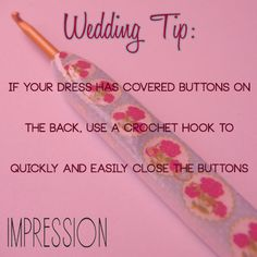 Crocheting Urban Dictionary : Wedding tip: use a crochet hook to close covered buttons on your ...