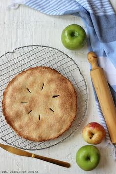 Pie de manzanas sin gluten Vegan Gluten Free, Gluten Free Recipes, Healthy Recipes, Healthy Food, Chocolate Sin Gluten, Cakes And More, Apple Pie, Free Food, Cooking