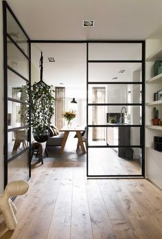 Steel frame Crittall windows in an open plan contemporary living space Home Interior Design, Interior Architecture, Futuristic Architecture, Contemporary Internal Doors, A Frame Cabin, Open Plan Living, Design Case, Home Decor Trends, Decor Ideas