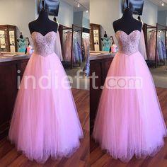 Beading Sweetheart Floor-length A-line Tulle Prom Dresses 2017