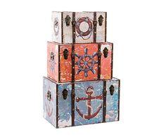 Set de 3 baúles de madera DM y polipiel - multicolor
