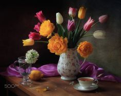 Still life with bouquet of tulips by Tatiana Skorokhod on 500px